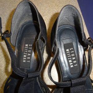 Stuart Weitzman Black Crepe Sandals 8 N Gently Use